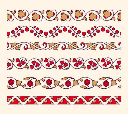 bordes decorativos: fronteras de vectores sin fisuras ornamentales decorativas. ilustrador vectorial Vectores