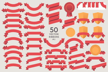 web graphics: Set of 50 vector Ribbons. Flat design elements collection for Infographic, Print, Web, etc.. Vector Graphics
