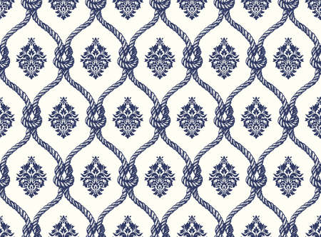 Rope seamless tied fishnet damask pattern. Vector Wallpaper Illustration