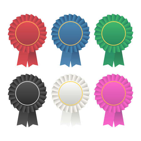 Vector rosette ruban prix médaillon. Ruban badge rosette vecteur icône illustration