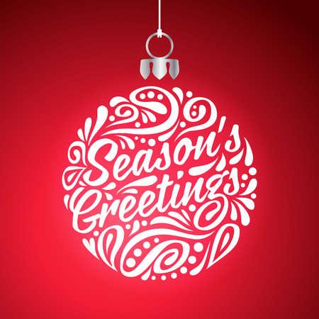 Vacaciones tarjeta de felicitación con doodle de Resumen de la bola de la Navidad.