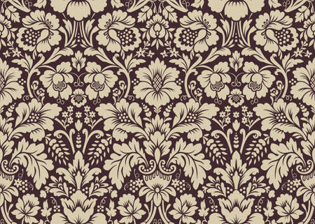 vector ornament: Vector seamless floral damask pattern. Rich ornament, old Damascus style. Royal victorian seamless pattern for wallpapers, textile, wrapping, wedding invitation Illustration