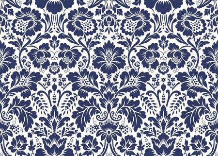 ベクターのシームレスな花ダマスク パターン。豊富な飾り、古いダマスカス スタイル。壁紙、テキスタイル、折り返し、結婚式招待状のロイヤル