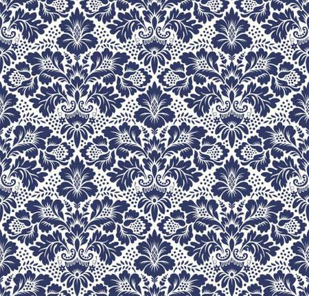 Vector seamless floral damask pattern. Rich ornament, old Damascus style. Royal victorian seamless pattern for wallpapers, textile, wrapping, wedding invitation Çizim