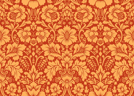 Vector seamless floral damask pattern. Rich ornament, old Damascus style. Royal victorian seamless pattern for wallpapers, textile, wrapping, wedding invitation Illustration