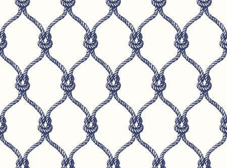 tied: Rope seamless tied fishnet pattern. Vector Wallpaper