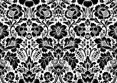 Vector seamless floral damask pattern. Rich ornament, old Damascus style. Royal victorian seamless pattern for wallpapers, textile, wrapping, wedding invitation 向量圖像