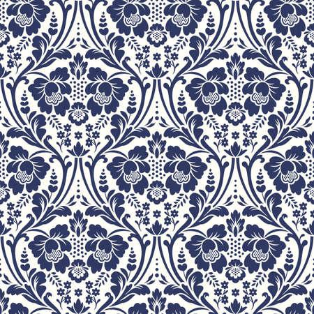 Vector seamless damassé florale. ornement Rich, le style de Damas vieux. seamless victorian royal pour les papiers peints, textile, emballage, invitation de mariage Banque d'images - 68981280