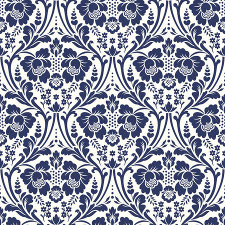 Vector seamless floral damask pattern. Rich ornament, old Damascus style. Royal victorian seamless pattern for wallpapers, textile, wrapping, wedding invitation Ilustração