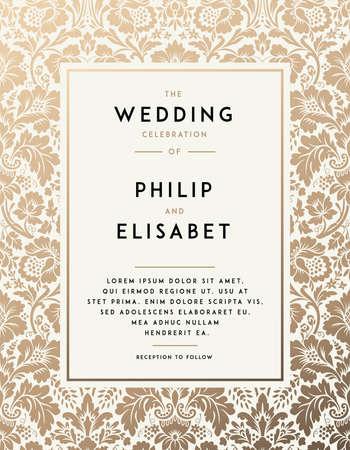 빈티지 결혼식 초대장 템플릿입니다. 현대적인 디자인. 다 배경 결혼식 초대장 디자인. 결혼식 전통 장식. 벡터 일러스트 레이 션 일러스트