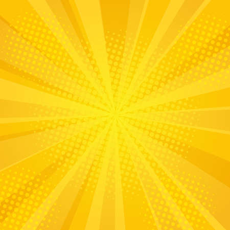 Comics rays background with halftones. Vector summer backdrop for your illustrations