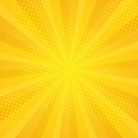 halftones: Comics rays background with halftones. Vector summer backdrop for your illustrations