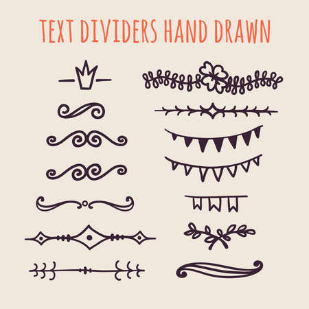 text books: Set of hand drawn text dividers isolated on light background. Old paper Decoration. Vector vintage ornament for design text books, greeting cards and invitations Illustration