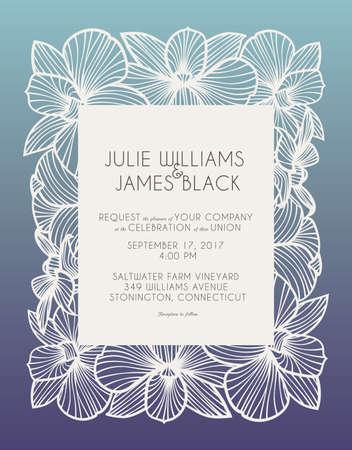 レーザー カット、結婚式の招待状装飾的なパネルの蘭の花とベクトルです。結婚式やお知らせ、母の日、バレンタインデー、誕生日カードに最適で