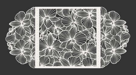 Laser gesneden vector trouwuitnodiging met orchidee bloemen voor decoratieve paneel. Perfect voor bruiloft of aankondigingen, moedersdag, valentijnsdag, verjaardagskaarten. Bloemenpatroon. Gestileerde tekening van orchideeën. Vector orchidee. Laser snij papier, hout. Stock Illustratie