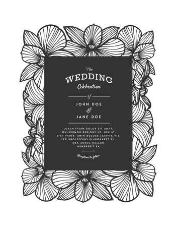 vector découpe laser invitation de mariage avec des fleurs d'orchidées pour panneau décoratif. Parfait pour un mariage ou des annonces, jour de mères, Saint Valentin, des cartes d'anniversaire. motif floral. dessin d'orchidées stylisées. orchidée vecteur. couper le papier laser, le bois.