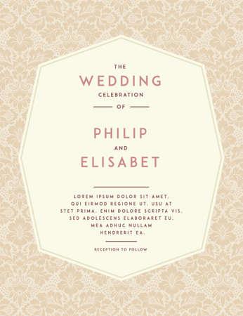 Plantilla de la invitación de la boda. Diseño del vintage. Diseño de la invitación de la boda con el fondo abstracto del damasco. Decoración de la tradición para la boda. Ilustración del vector