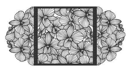 Corte por láser invitación de la boda del vector con las flores de las orquídeas para el panel decorativo. Perfecto para la boda o anuncios, día de madres, día de San Valentín, tarjetas de cumpleaños. Patrón floral. dibujo estilizado de orquídeas. orquídea Vector. láser de corte de papel, madera. Foto de archivo - 74346353