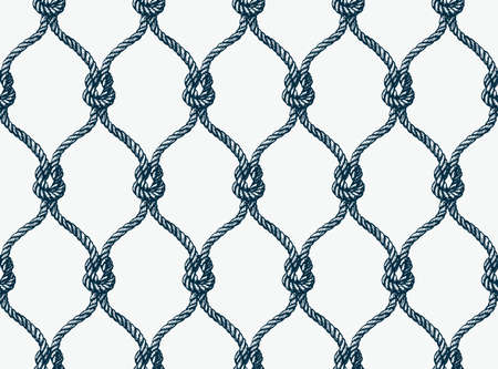 fishnet: Rope seamless tied fishnet pattern. Vector Wallpaper
