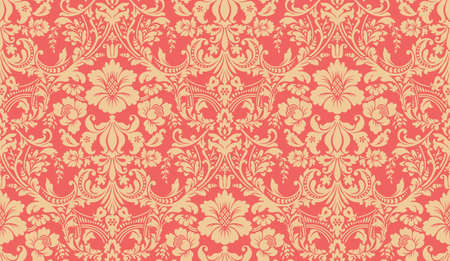Damask pattern. Red and yellow image. Rich ornament, old Damascus style pattern for wallpapers, textile, Scrapbooking etc.