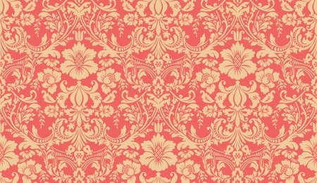 Motif damassé. Image rouge et jaune. Ornement riche, vieux modèle de style de Damas pour le papier peint, le textile, Scrapbooking etc.