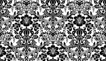 Damask pattern. Black and white image. Rich ornament, old Damascus style pattern for wallpapers, textile, Scrapbooking etc.