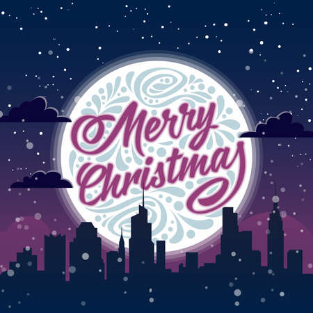 city background: Holiday greeting card with typography on background of night christmas city. Merry Christmas Illustration