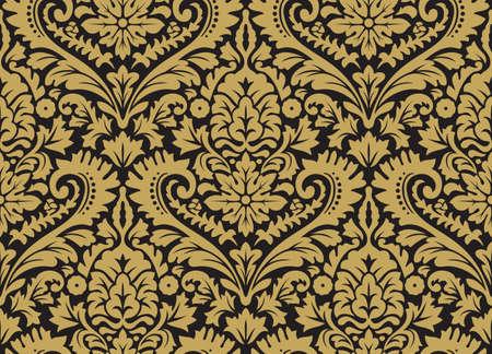 Damasco vector de patrones sin fisuras. Adorno rico, patrón de estilo antiguo de Damasco para papeles pintados, textiles, reserva de chatarra, etc.