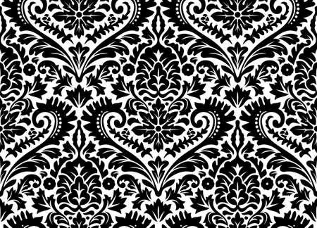 Damask vector seamless pattern. Black and white image rich ornament, old Damascus style pattern for wallpapers, textile, scrapbooking etc.