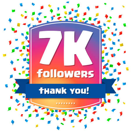 7000 followers Thank you design card for celebrating a large number of subscribers or followers in social networks Illustration