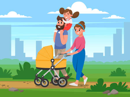 Happy Family walking in the Park on background of buildings. Flat Vector illustration