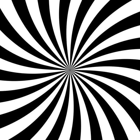 Black and white Radial rays background. Rays diverging from the center in a spiral. Simple and effective background. Vector illustration.
