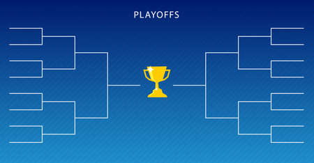 Decoration of playoffs schedule template on blue background. Creative Design Tournament Bracket. Vector Illustration  イラスト・ベクター素材