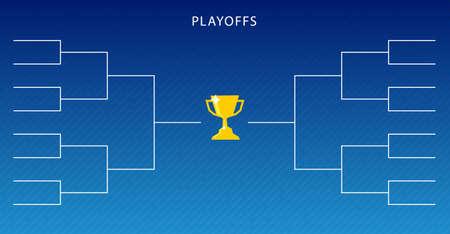 Decorazione del modello di pianificazione dei playoff su sfondo blu. Staffa per tornei di design creativo. Illustrazione vettoriale Vettoriali
