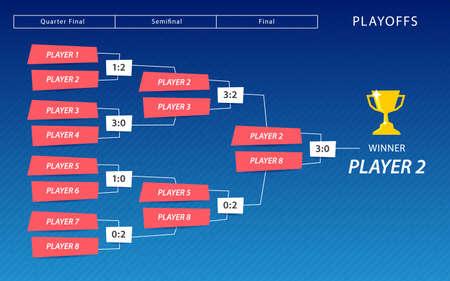 Decoration of playoffs schedule template on blue background. Creative Design Tournament Bracket. Vector Illustration Vector Illustration