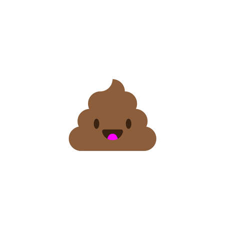 Pile of Poo icon. Shit emoticon flat design