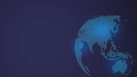 Dark Blue Vector background. Digital Dotted globe, Central heating views over East Asia