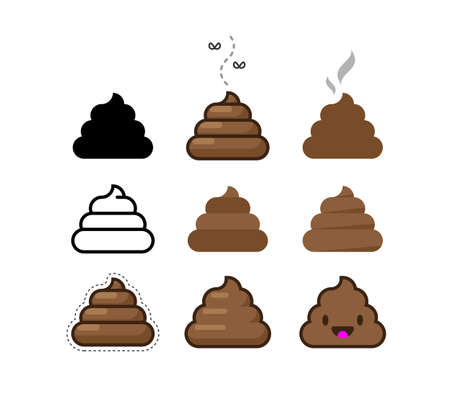 Set of Vector Flat Icons Shit. Bunch of Brown Shit