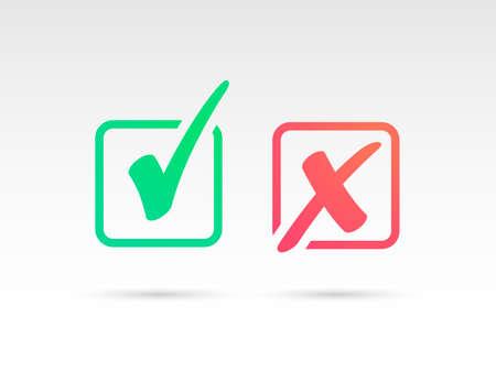 Ensemble d'icône de coche verte et de symbole de croix rouge X Vecteurs