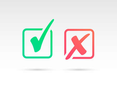 Set of Green Check Mark Icon and Red X cross Tick Symbol Vectores