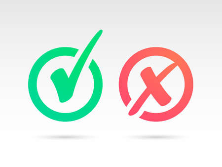 Set of Green Check Mark Icon and Red X cross Tick Symbol Illustration