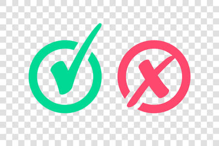 Set of Green Check Mark Icon and Red X cross Tick Symbol 向量圖像