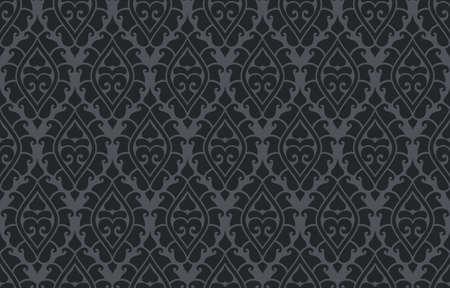 Patrón de Damasco transparente de vector. Adorno rico, patrón de estilo antiguo de Damasco para fondos de pantalla, textiles, álbumes de recortes, etc. Ilustración de vector