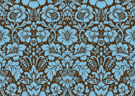 Vector seamless damask pattern. Blue and brown colors. Rich ornament, old Damascus style pattern for wallpapers, textile, Scrapbooking etc.