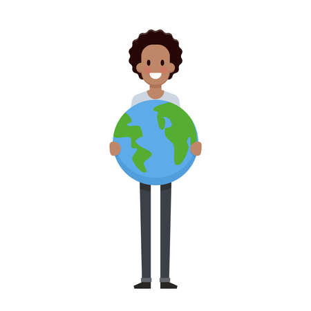 Man hold the earth flat design. Save planet concept - Vector illustration Ilustrace