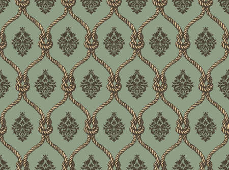 Rope seamless tied fishnet damask pattern. Blue and brown colors. Rich ornament, old Damascus style pattern for wallpapers, textile, Scrapbooking etc.