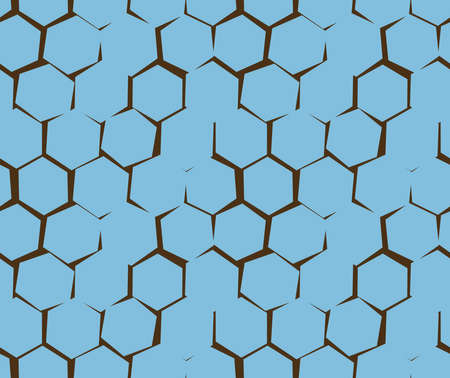 Abstract pattern of unequal cracks hexagons. Blue and brown colors. Pattern for wallpapers, textile, Scrapbooking etc.
