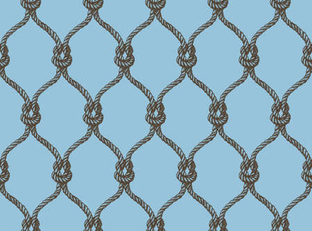 Rope seamless tied fishnet damask pattern. Blue and brown colors. Marine pattern for wallpapers, textile, Scrapbooking etc. Illustration