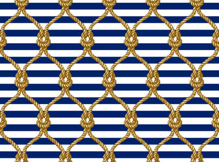 Rope seamless tied fishnet pattern. Damascus style pattern for wallpapers, textile, Scrapbooking etc. Ilustrace
