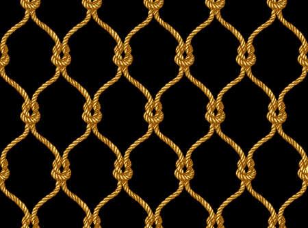 Reticolo a rete legato senza giunte di corda. Motivo in stile Damasco per sfondi, tessuti, scrapbooking ecc. Vettoriali